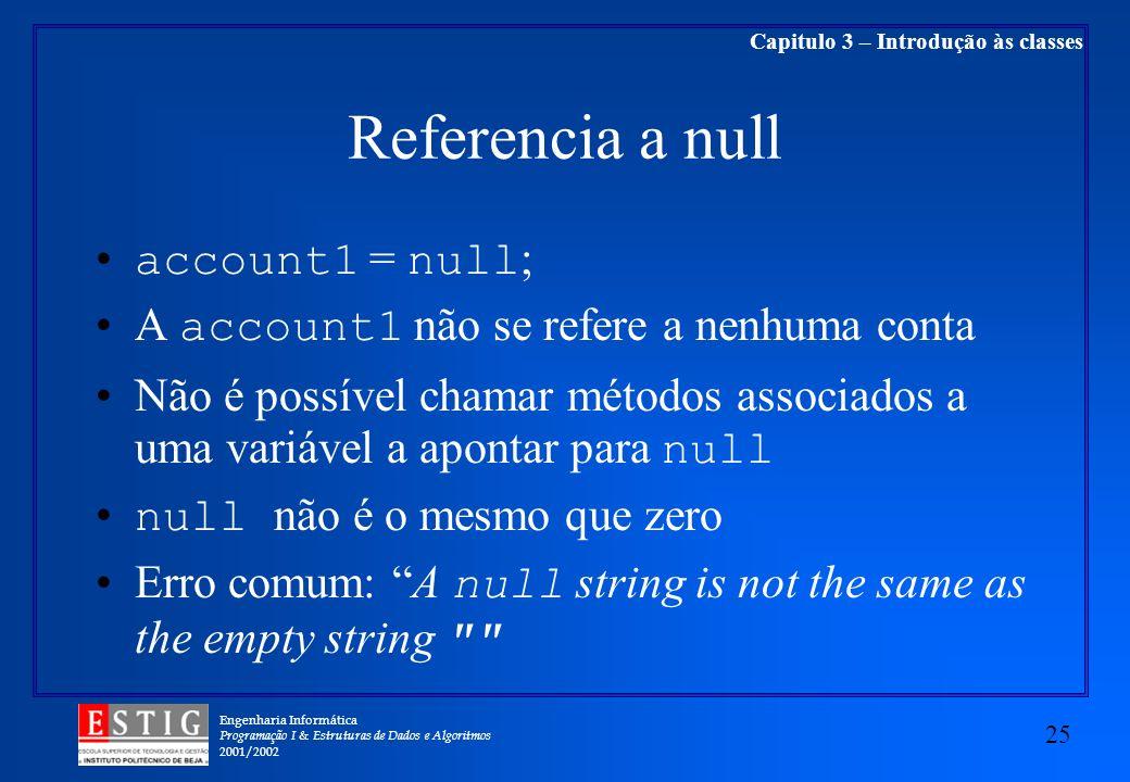 Engenharia Informática Programação I & Estruturas de Dados e Algoritmos 2001/2002 25 Capitulo 3 – Introdução às classes Referencia a null account1 = n
