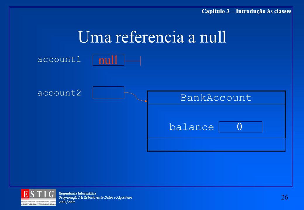 Engenharia Informática Programação I & Estruturas de Dados e Algoritmos 2001/2002 26 Capitulo 3 – Introdução às classes Uma referencia a null BankAcco