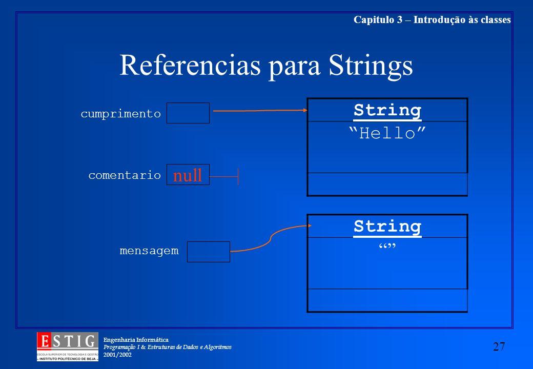 Engenharia Informática Programação I & Estruturas de Dados e Algoritmos 2001/2002 27 Capitulo 3 – Introdução às classes Referencias para Strings String Hello cumprimento mensagem String null comentario