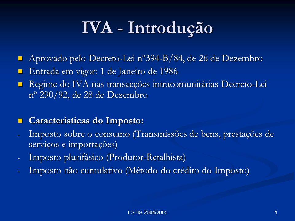 62ESTIG 2004/2005 Valor tributável (art.