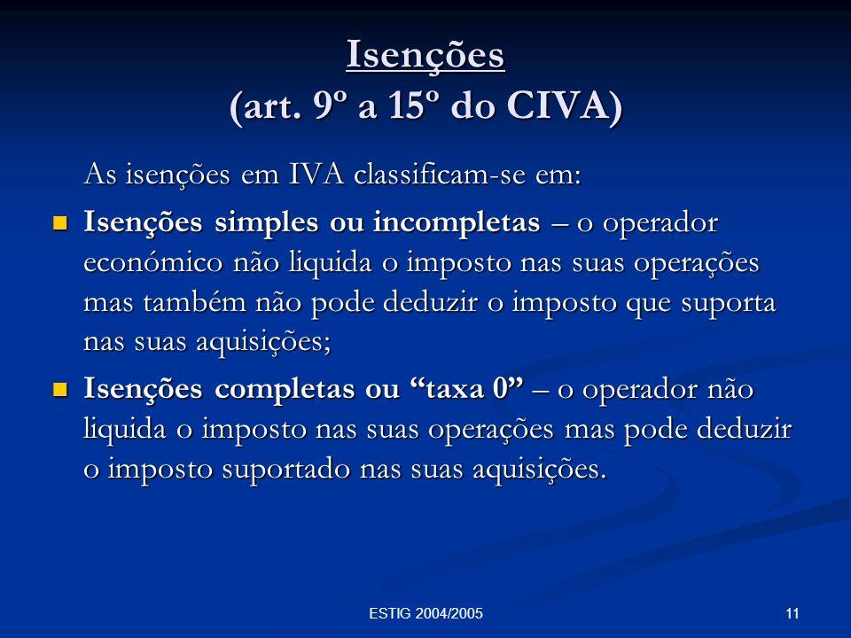 11ESTIG 2004/2005 Isenções (art. 9º a 15º do CIVA) As isenções em IVA classificam-se em: Isenções simples ou incompletas – o operador económico não li