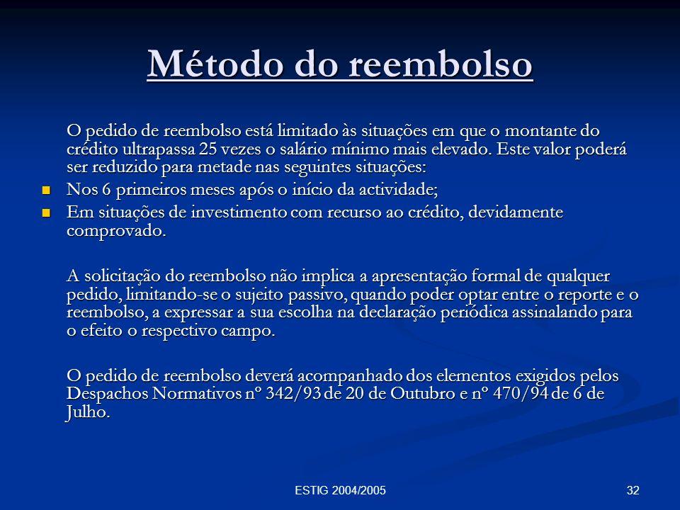 32ESTIG 2004/2005 Método do reembolso O pedido de reembolso está limitado às situações em que o montante do crédito ultrapassa 25 vezes o salário míni