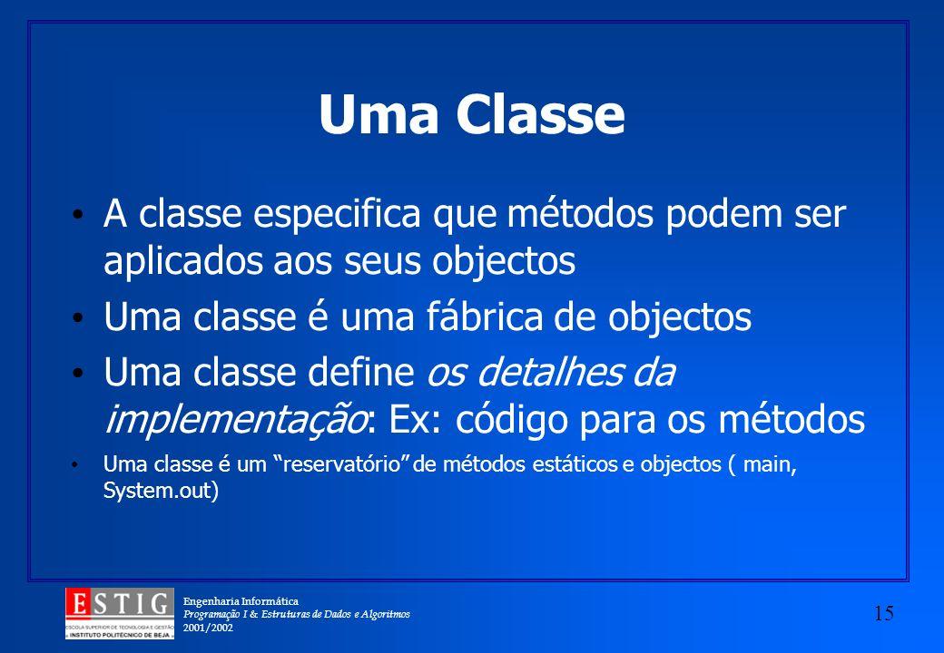 Engenharia Informática Programação I & Estruturas de Dados e Algoritmos 2001/2002 15 Uma Classe A classe especifica que métodos podem ser aplicados ao