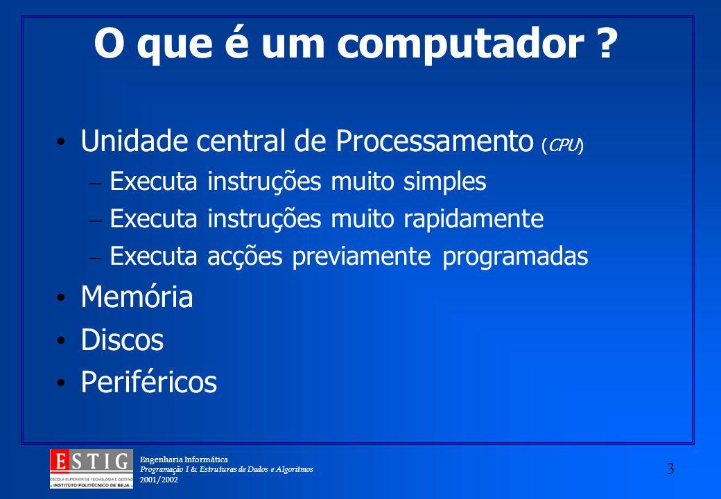 Engenharia Informática Programação I & Estruturas de Dados e Algoritmos 2001/2002 3 O que é um computador ? Unidade central de Processamento (CPU) – E