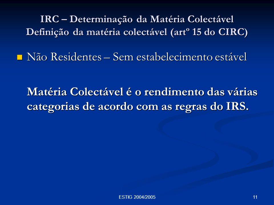 11ESTIG 2004/2005 IRC – Determinação da Matéria Colectável Definição da matéria colectável (artº 15 do CIRC) Não Residentes – Sem estabelecimento está