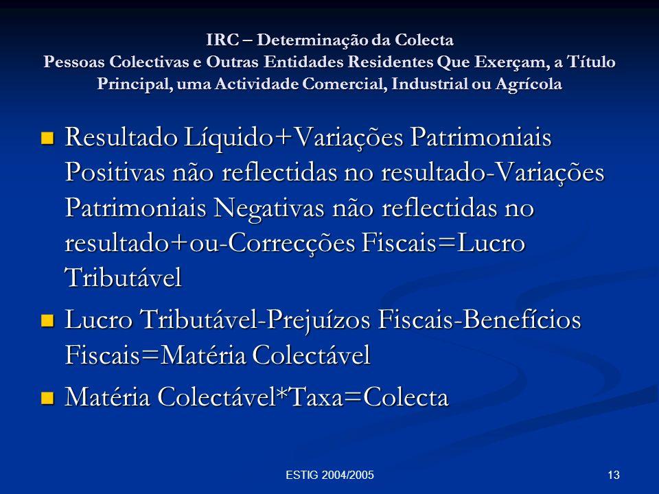 13ESTIG 2004/2005 IRC – Determinação da Colecta Pessoas Colectivas e Outras Entidades Residentes Que Exerçam, a Título Principal, uma Actividade Comer