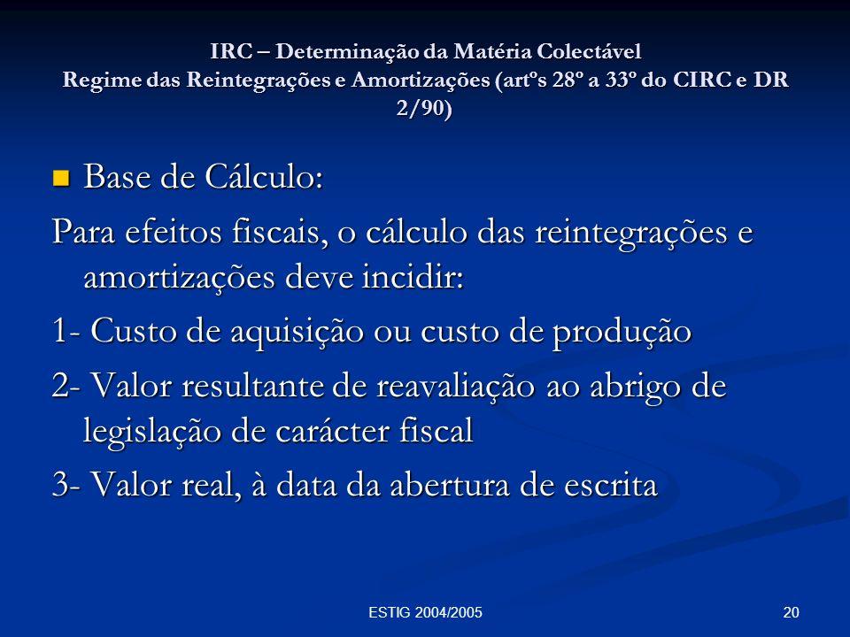 20ESTIG 2004/2005 IRC – Determinação da Matéria Colectável Regime das Reintegrações e Amortizações (artºs 28º a 33º do CIRC e DR 2/90) Base de Cálculo