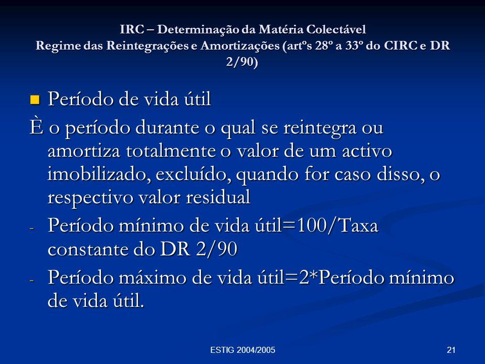 21ESTIG 2004/2005 IRC – Determinação da Matéria Colectável Regime das Reintegrações e Amortizações (artºs 28º a 33º do CIRC e DR 2/90) Período de vida