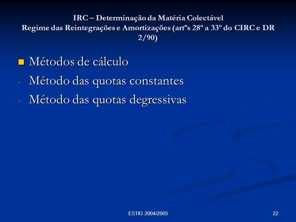 22ESTIG 2004/2005 IRC – Determinação da Matéria Colectável Regime das Reintegrações e Amortizações (artºs 28º a 33º do CIRC e DR 2/90) Métodos de cálc