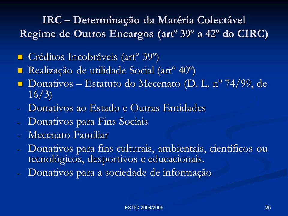 25ESTIG 2004/2005 IRC – Determinação da Matéria Colectável Regime de Outros Encargos (artº 39º a 42º do CIRC) Créditos Incobráveis (artº 39º) Créditos
