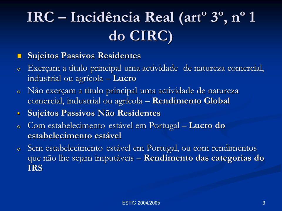 4ESTIG 2004/2005 IRC – Extensão da Obrigação de Imposto (artº 4º do CIRC) Residentes – Todos os rendimentos incluindo os obtidos fora do território português.
