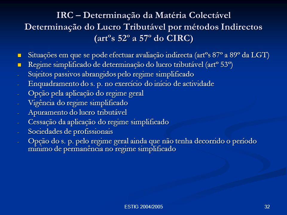 32ESTIG 2004/2005 IRC – Determinação da Matéria Colectável Determinação do Lucro Tributável por métodos Indirectos (artºs 52º a 57º do CIRC) Situações