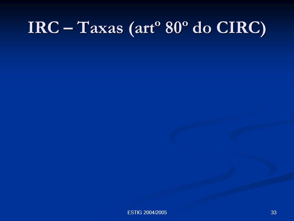 33ESTIG 2004/2005 IRC – Taxas (artº 80º do CIRC)
