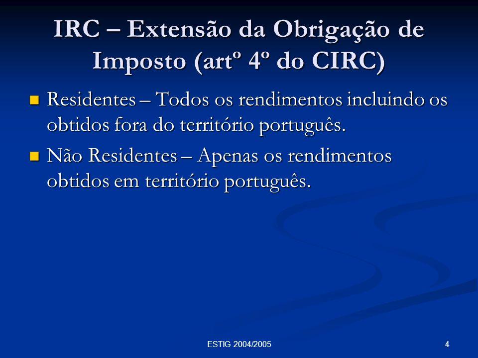 4ESTIG 2004/2005 IRC – Extensão da Obrigação de Imposto (artº 4º do CIRC) Residentes – Todos os rendimentos incluindo os obtidos fora do território po