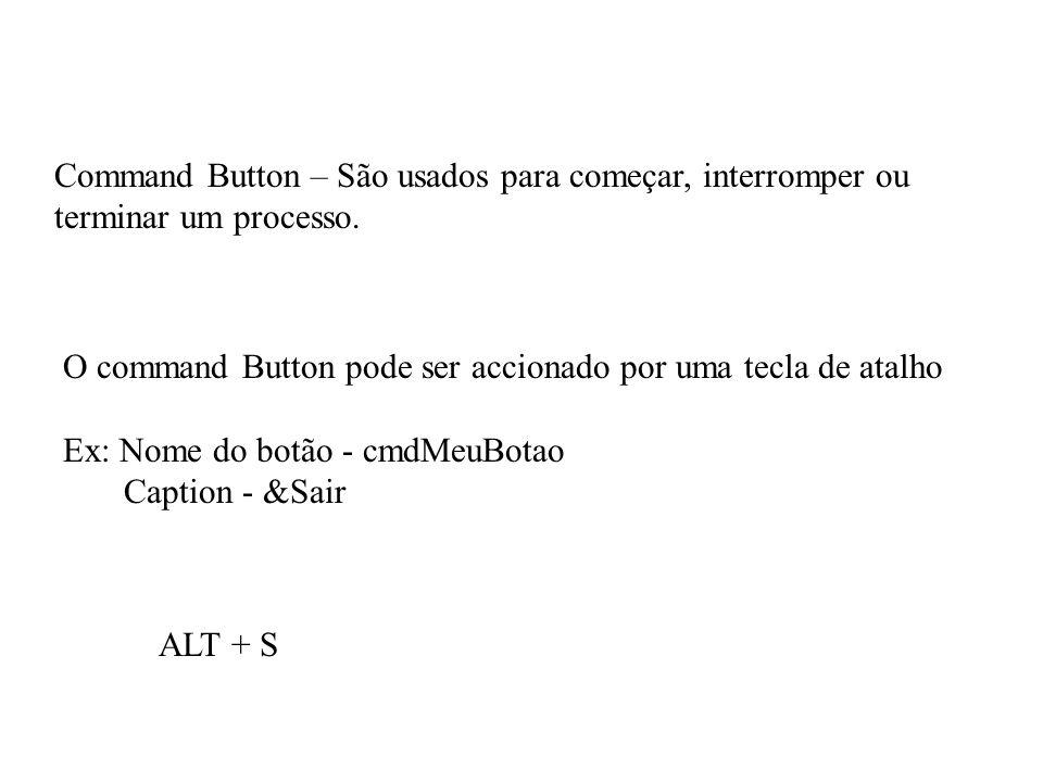 Command Button – São usados para começar, interromper ou terminar um processo.