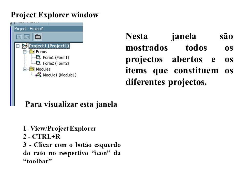 Nesta janela são mostrados todos os projectos abertos e os items que constituem os diferentes projectos.