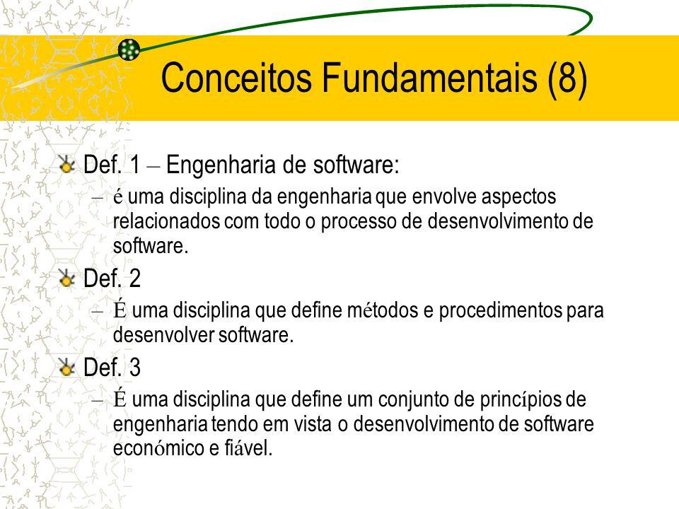 Def. 1 – Engenharia de software: –é uma disciplina da engenharia que envolve aspectos relacionados com todo o processo de desenvolvimento de software.