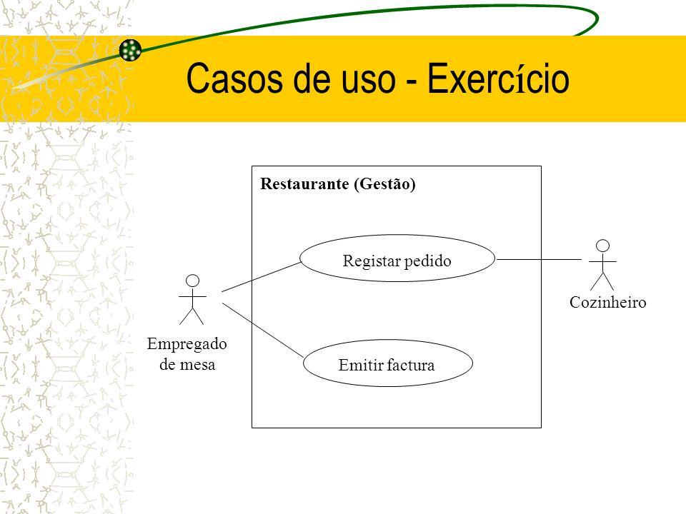Casos de uso - Exerc í cio Empregado de mesa Registar pedido Restaurante (Gestão) Emitir factura Cozinheiro