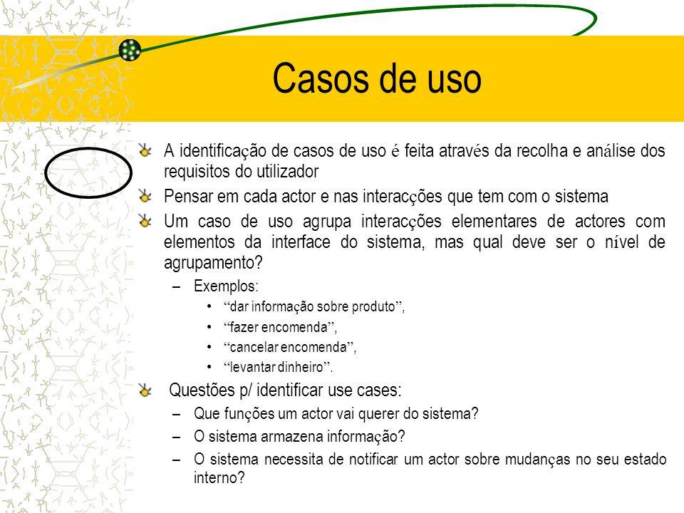 Casos de uso A identifica ç ão de casos de uso é feita atrav é s da recolha e an á lise dos requisitos do utilizador Pensar em cada actor e nas intera