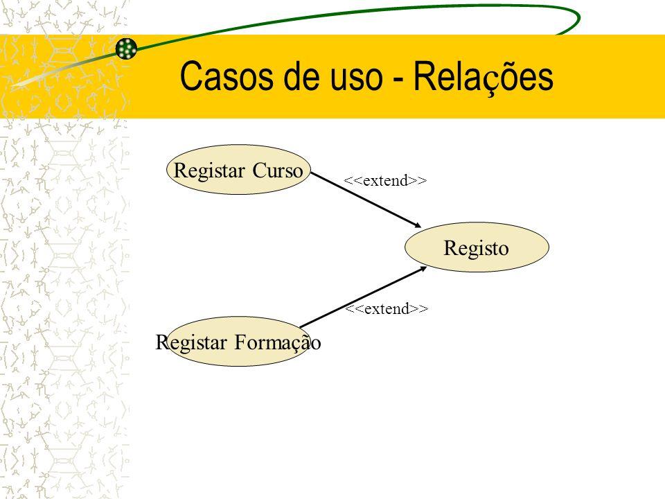 Casos de uso - Rela ç ões Registar Curso Registar Formação Registo >