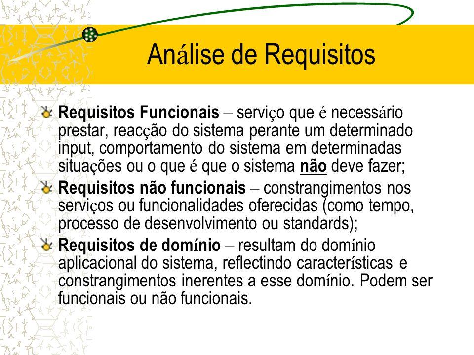 An á lise de Requisitos Requisitos Funcionais – servi ç o que é necess á rio prestar, reac ç ão do sistema perante um determinado input, comportamento