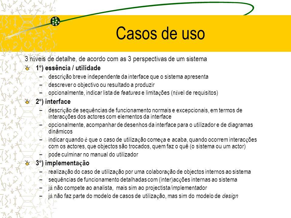 Casos de uso 3 n í veis de detalhe, de acordo com as 3 perspectivas de um sistema 1 º ) essência / utilidade –descri ç ão breve independente da interf