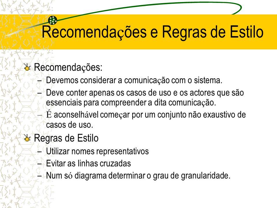 Recomenda ç ões e Regras de Estilo Recomenda ç ões: –Devemos considerar a comunica ç ão com o sistema. –Deve conter apenas os casos de uso e os actore