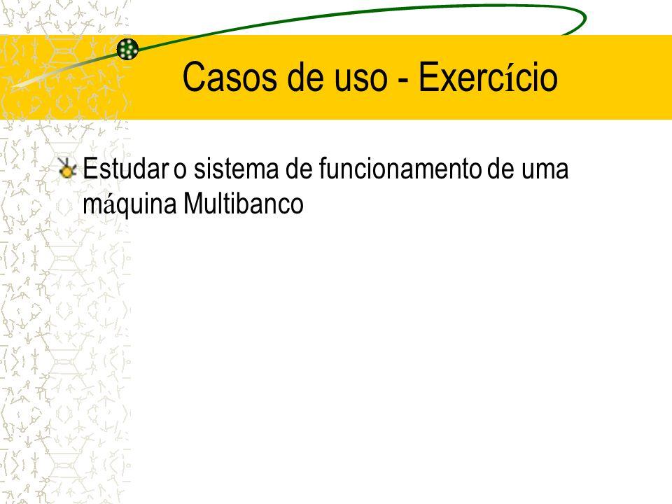 Casos de uso - Exerc í cio Estudar o sistema de funcionamento de uma m á quina Multibanco
