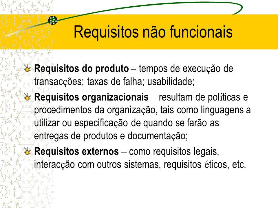 Requisitos não funcionais Requisitos do produto – tempos de execu ç ão de transac ç ões; taxas de falha; usabilidade; Requisitos organizacionais – res