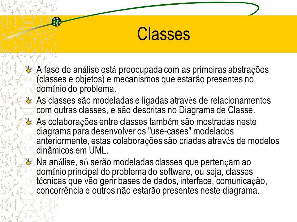 Classes A fase de an á lise est á preocupada com as primeiras abstra ç ões (classes e objetos) e mecanismos que estarão presentes no dom í nio do prob