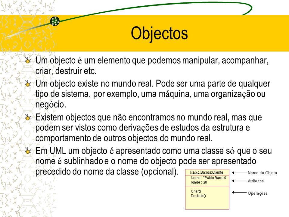 Objectos Um objecto é um elemento que podemos manipular, acompanhar, criar, destruir etc. Um objecto existe no mundo real. Pode ser uma parte de qualq
