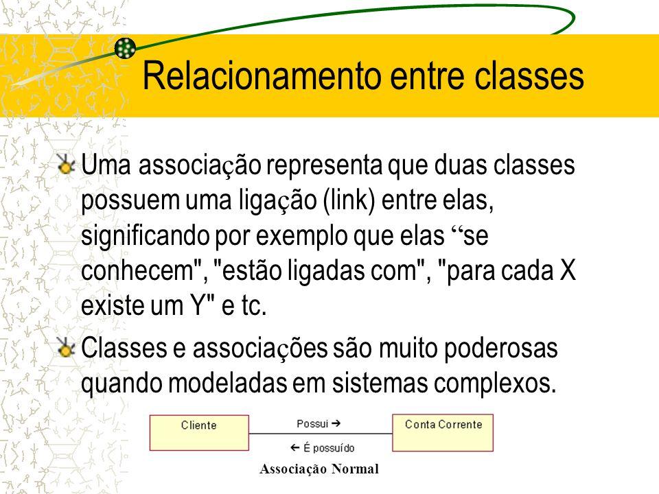Relacionamento entre classes Uma associa ç ão representa que duas classes possuem uma liga ç ão (link) entre elas, significando por exemplo que elas s