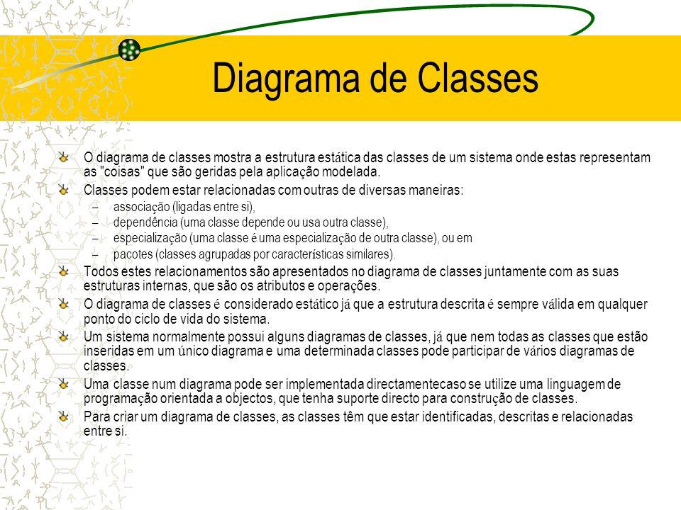 Diagrama de Classes O diagrama de classes mostra a estrutura est á tica das classes de um sistema onde estas representam as