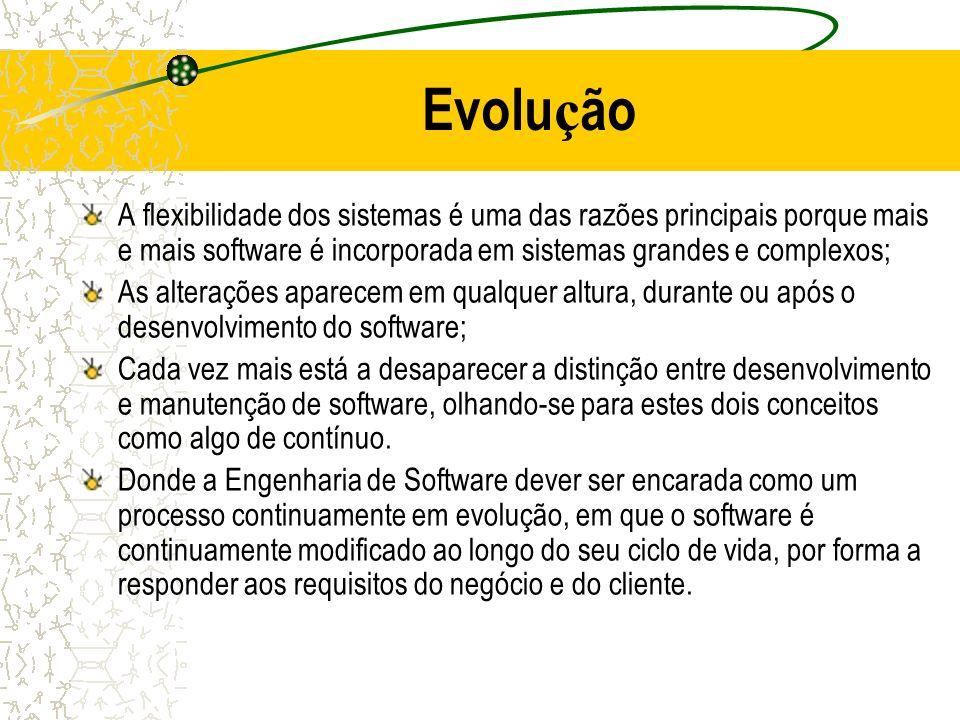 Evolu ç ão A flexibilidade dos sistemas é uma das razões principais porque mais e mais software é incorporada em sistemas grandes e complexos; As alte