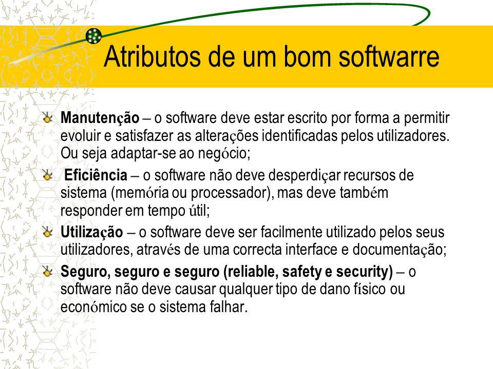 Atributos de um bom softwarre Manuten ç ão – o software deve estar escrito por forma a permitir evoluir e satisfazer as altera ç ões identificadas pel