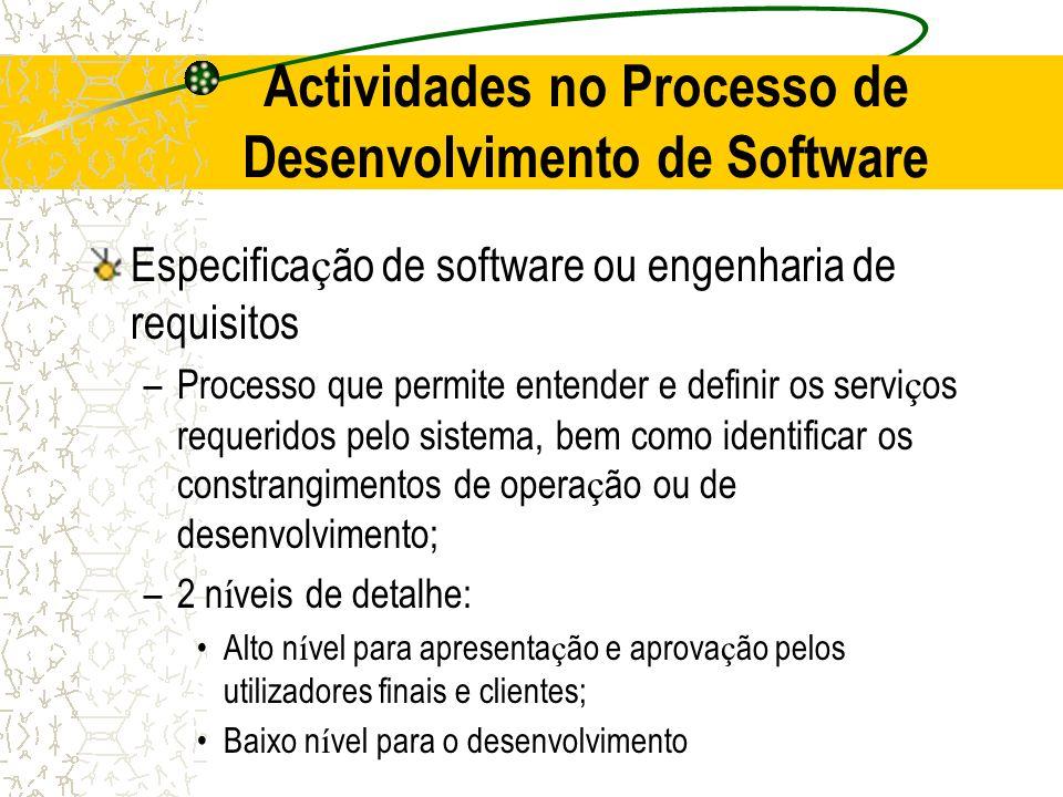 Actividades no Processo de Desenvolvimento de Software Especifica ç ão de software ou engenharia de requisitos –Processo que permite entender e defini