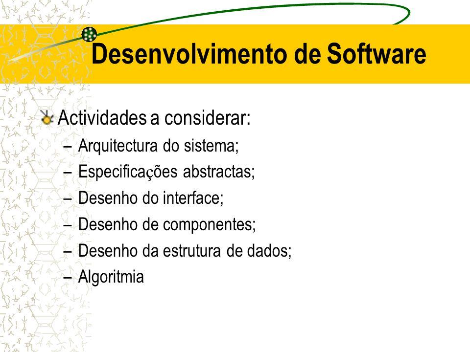 Desenvolvimento de Software Actividades a considerar: –Arquitectura do sistema; –Especifica ç ões abstractas; –Desenho do interface; –Desenho de compo