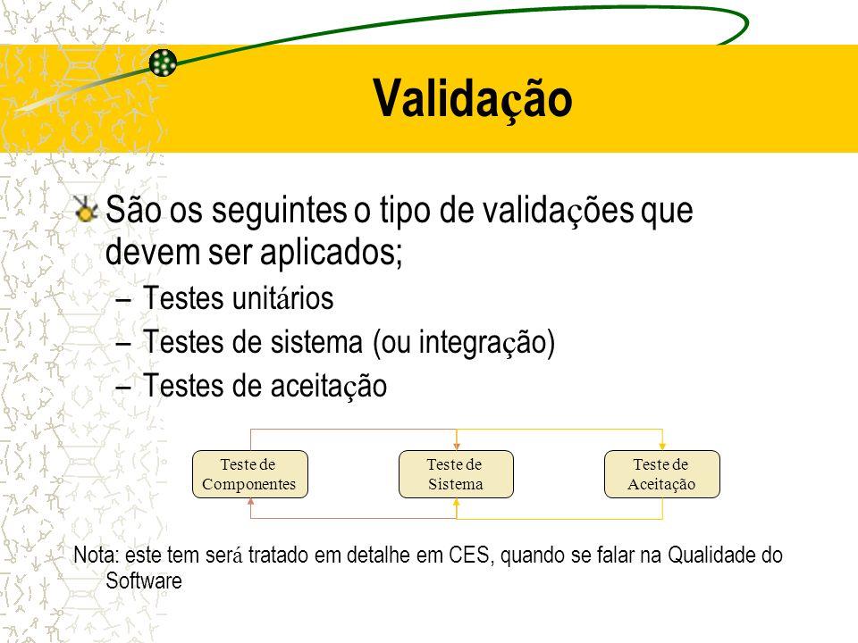 Valida ç ão São os seguintes o tipo de valida ç ões que devem ser aplicados; –Testes unit á rios –Testes de sistema (ou integra ç ão) –Testes de aceit