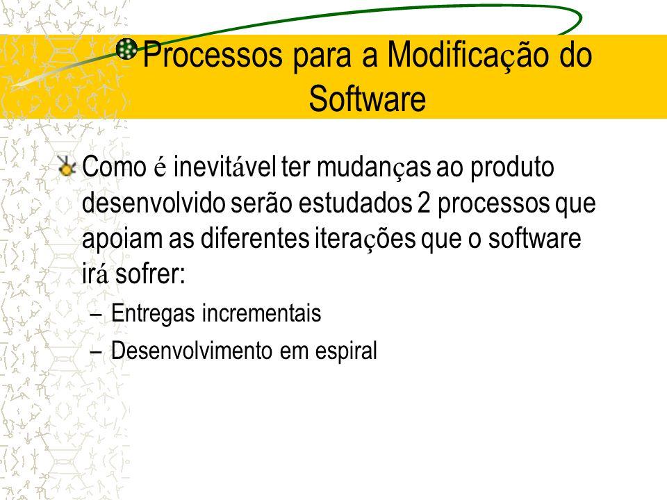 Processos para a Modifica ç ão do Software Como é inevit á vel ter mudan ç as ao produto desenvolvido serão estudados 2 processos que apoiam as difere