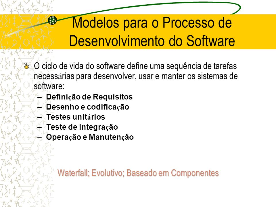 Ciclo de vida do Software Definição de requisitos Definição de requisitos Desenho do sistema e do Software Desenho do sistema e do Software Implementação e Testes unitários Implementação e Testes unitários Integração e testes do sistema Integração e testes do sistema Operação e Manutenção Operação e Manutenção