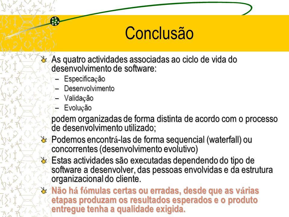 Conclusão As quatro actividades associadas ao ciclo de vida do desenvolvimento de software: –Especifica ç ão –Desenvolvimento –Valida ç ão –Evolu ç ão