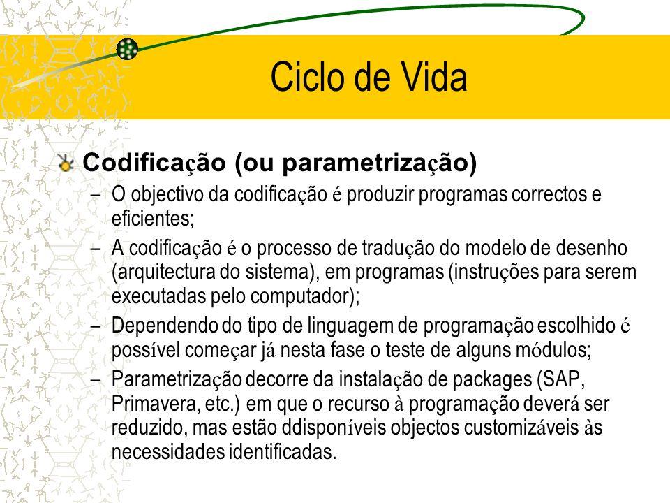 Codifica ç ão (ou parametriza ç ão) –O objectivo da codifica ç ão é produzir programas correctos e eficientes; –A codifica ç ão é o processo de tradu
