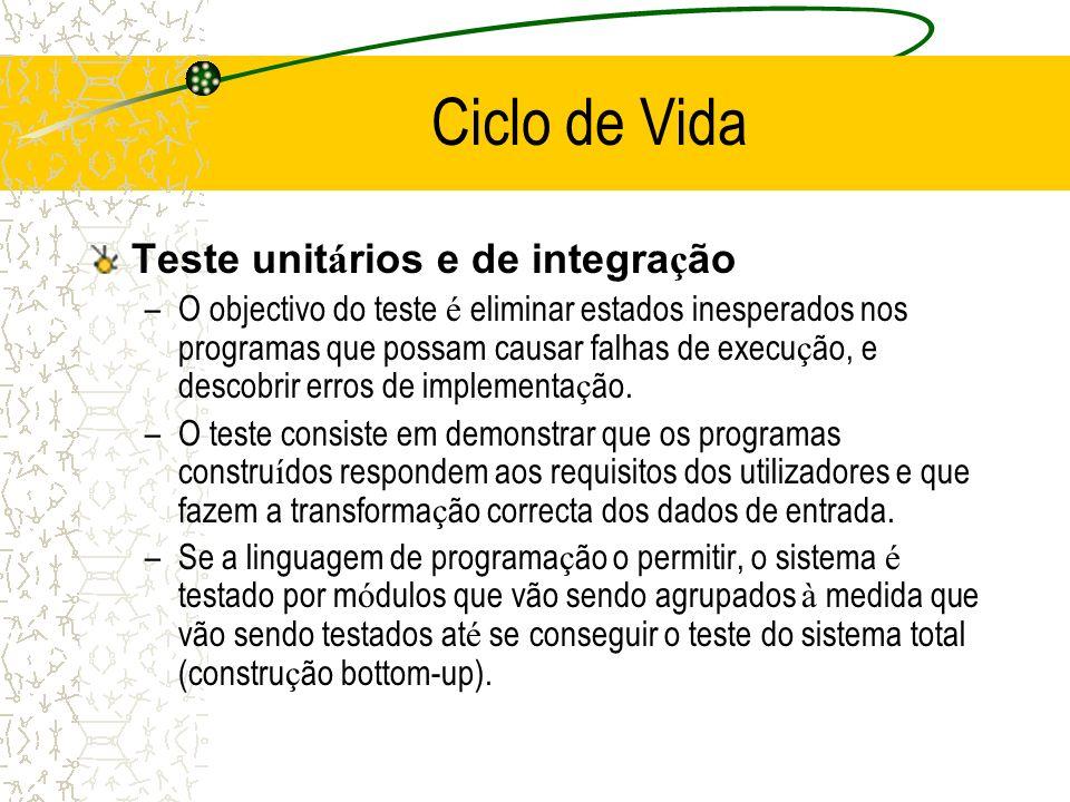 Teste unit á rios e de integra ç ão –O objectivo do teste é eliminar estados inesperados nos programas que possam causar falhas de execu ç ão, e desco