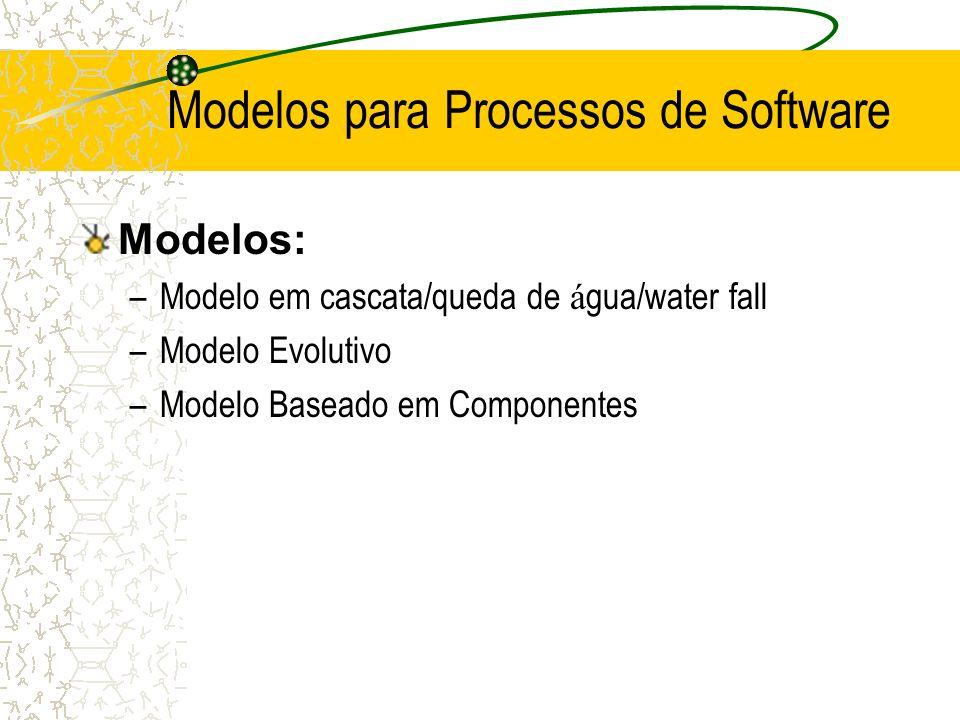 Modelos: –Modelo em cascata/queda de á gua/water fall –Modelo Evolutivo –Modelo Baseado em Componentes Modelos para Processos de Software