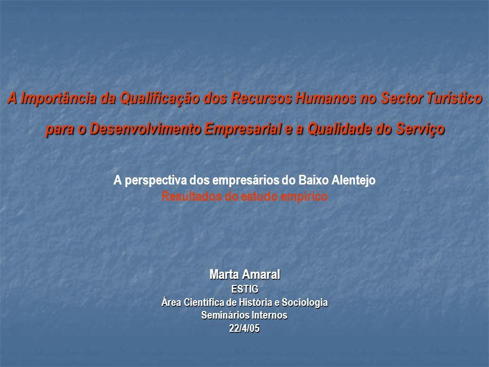 A Importância da Qualificação dos Recursos Humanos no Sector Turístico para o Desenvolvimento Empresarial e a Qualidade do Serviço A perspectiva dos e