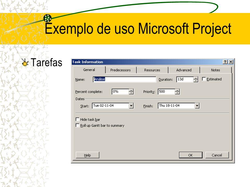 Tarefas Exemplo de uso Microsoft Project