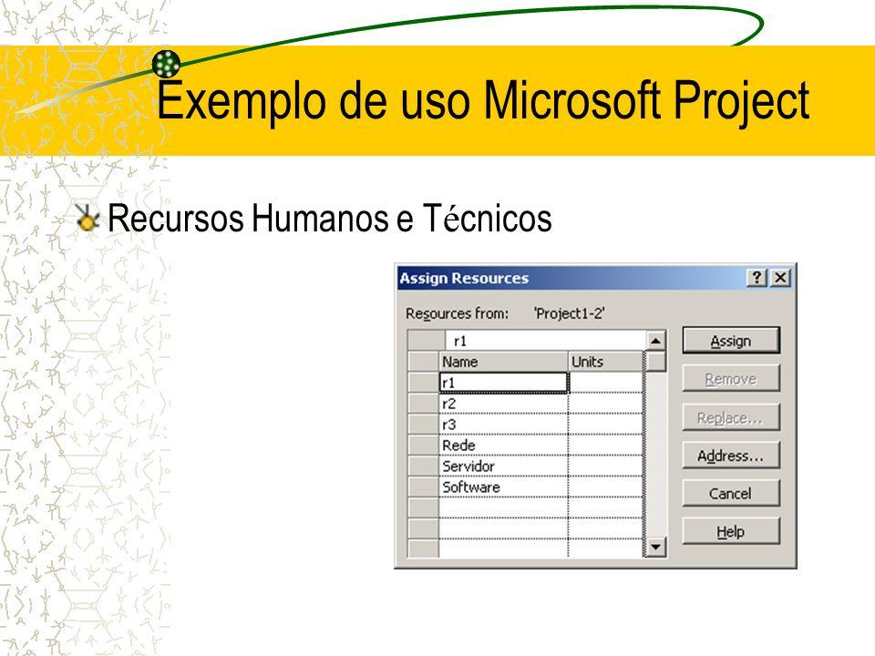 Recursos Humanos e T é cnicos Exemplo de uso Microsoft Project