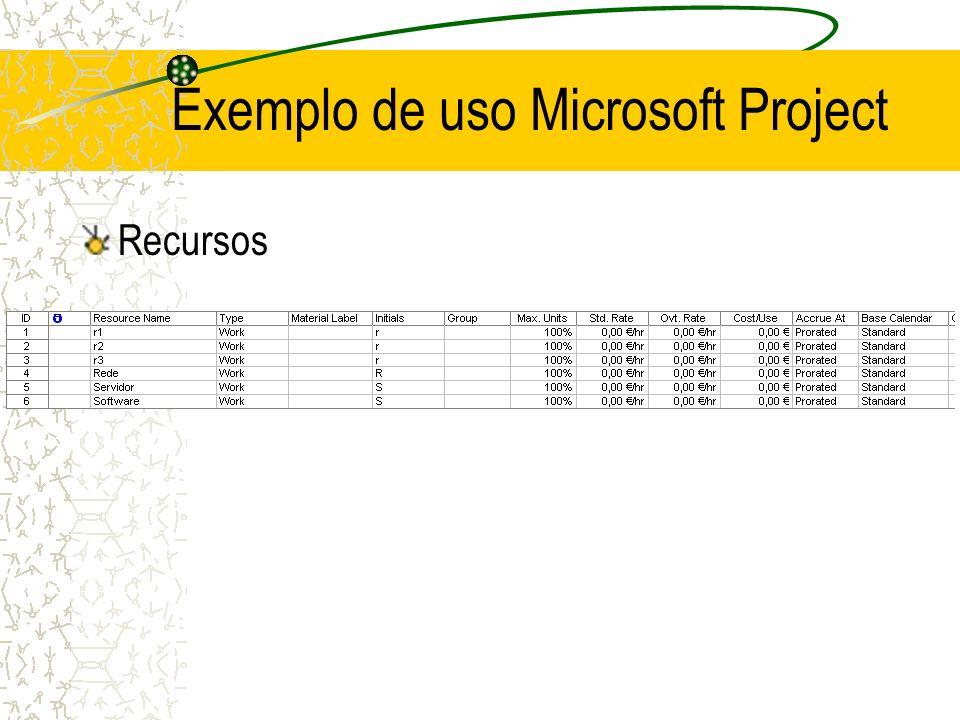 Recursos Exemplo de uso Microsoft Project