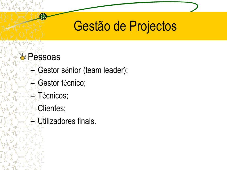 Gestão de Projectos Pessoas –Gestor s é nior (team leader); –Gestor t é cnico; –T é cnicos; –Clientes; –Utilizadores finais.