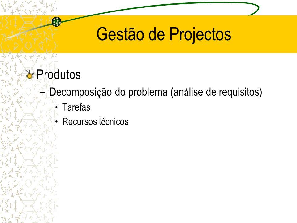 Produtos –Decomposi ç ão do problema (an á lise de requisitos) Tarefas Recursos t é cnicos Gestão de Projectos